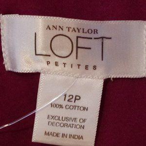 LOFT Tops - Ann Taylor Loft Fitted Cotton Blouse w/Peplum- 12P